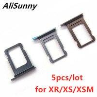 AliSunny-soporte para bandeja de tarjeta SIM, para iPhone XR, XS, Max, XSM, piezas de repuesto de adaptador Dual único, 5 uds.