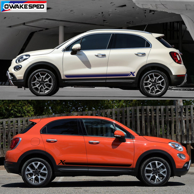 For Fiat-500X Sport Stripes Car Door Side Skirt Sticker Auto Body Decor Vinyl Decal Racing Styling Exterior Accessories 5