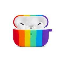 Мягкий силиконовый чехол для airpods радужные цвета милый защитный