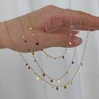 2021 neue Kreis Quadrat Drop Geometrische Metall Charme Gold Kette Choker Halsketten Für Frauen Delicate 18k Gold Schicht Halskette