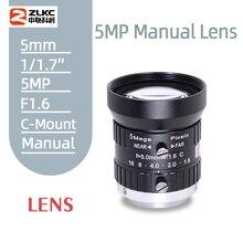ZLKC HD 5Megapixel Machine Vision Lens 5mm Manual Iris Zoom FA Lens Industrial for Industrial Camera C-Mount Low Distortion Lens