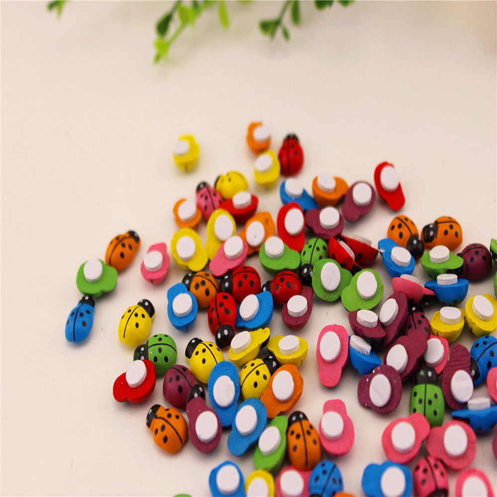 100PCS/Lot 13*9mm Colorful Wooden Ladybug Ladybird Self-adhesive Stickers DIY Craft Scrapbooking Home Party Decoration