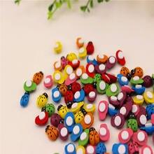 Autocollants coccinelle colorée en bois, 100 pièces/lot, 13x9mm, auto-adhésif, pour bricolage, artisanat, Scrapbooking, décoration de fête à domicile
