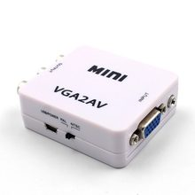 Mini HD 2AV VGA Video Converter Convertor Box AV RCA CVBS to VGA Video Converter Conversor with 3.5mm Audio to PC HDTV Converter(China)