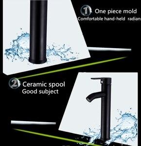 Image 4 - 스테인레스 스틸 싱글 핸들 욕실 분지의 수도꼭지 콜드/핫 믹서 분지 싱크 탭 블랙 욕실 수도꼭지 욕실 악세사리