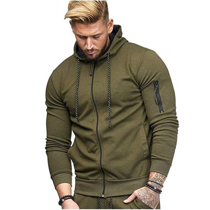 'Men's Fitness Sports Cardigan Hoodie Arm Zipper Fashion Casual Jacket Sweatshirts Men
