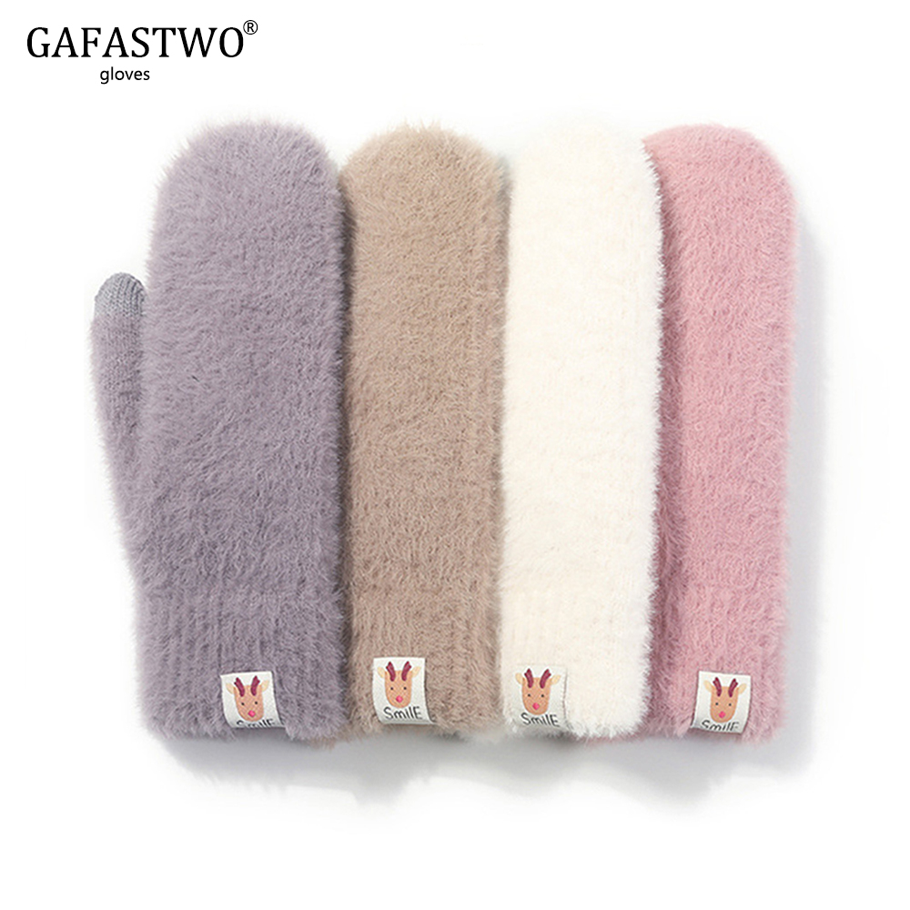 Christmas Winter Knitted Plush Ladies Gloves Fashion Elk Icon Gloves Touch Screen Windproof Plus Velvet Warm Anti-Pilling Women