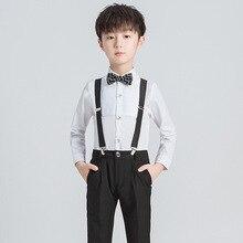 Spring Autumn Cotton Long Sleeve Shirt Overalls Boy Wedding Attire Elegant Suit