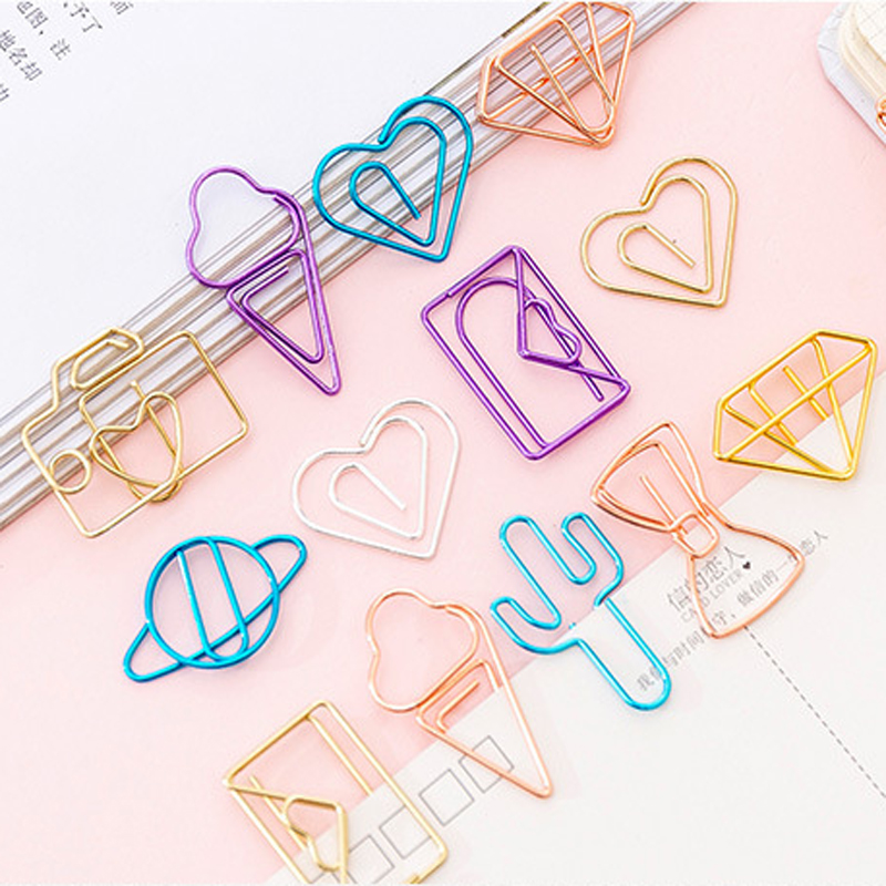 10packs/lot Cute Dolphin Rose Gold Metal Bookmark Clip Cute Cartoon Bookmark Paper Clip Teacher School Office Supply