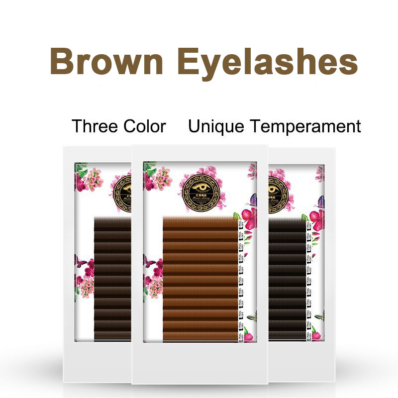 BRILLANT Brown Coffee Color Classic Fashion Grafting Eyelashes Extension Density Plant Personality False Eyelash Natural Caramel