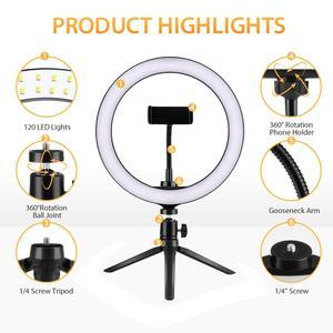 Image 3 - 6 w 10 w 16cm 26cm LED pierścień światła uchwyt telefonu Selfie Mini statyw pierścień lampa dla iphone huawei xiaomi Youtube transmisja na żywo Vide