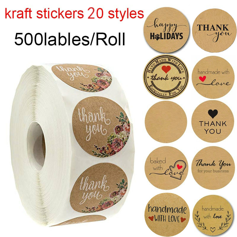 Round Natural Kraft Thank You Stickers Seal Labels 500 Labels Per Roll Hand Made With Love Stickers Office Stationery Sticker