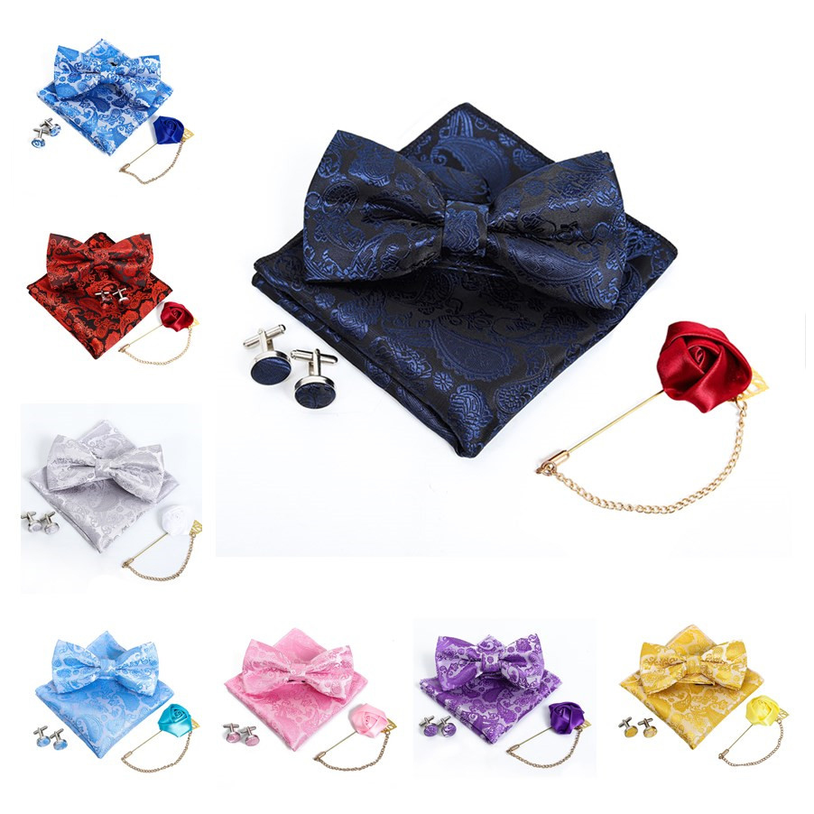 Wedding Silk Woven Men Butterfly Bow Tie Luxury Gold Red Blue Black Flower BowTie Pocket Square Cufflinks Boutonniere Suit Set