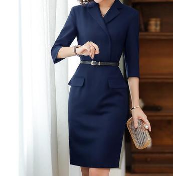 Women 2020 Autumn High Quality Dress Office Ladies Work Wear Formal Elegant Slim Pencil Midi Dresses Blazer Female Party Vestido
