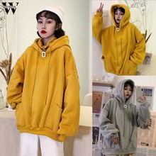 Womail Frauen Sweatshirt herbst Warme Hoodie Pullover Zipper-Sweatshirt Tasche Korea lose Campus mode Weibliche Gefälschte zwei stücke(China)