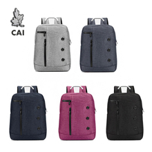 "CAI Fashion Waterproof School Backpack Rucksack Business Travel Bag 14"" Laptop  Men Women College Student Bags Casual Bookbag"