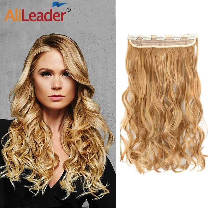 Alileader-extensiones de pelo sintético para mujer, 5Clips de extensión de pelo de onda larga, Clip en extensiones de cabello para mujer, peluquín falso degradado