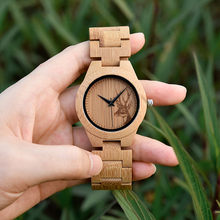 BOBO BIRD Ladies Bamboo Wood Quartz Watches Women clock with Deer Head Dial Bamboo Strap Birdthday Gifts Customize Reloj Mujer