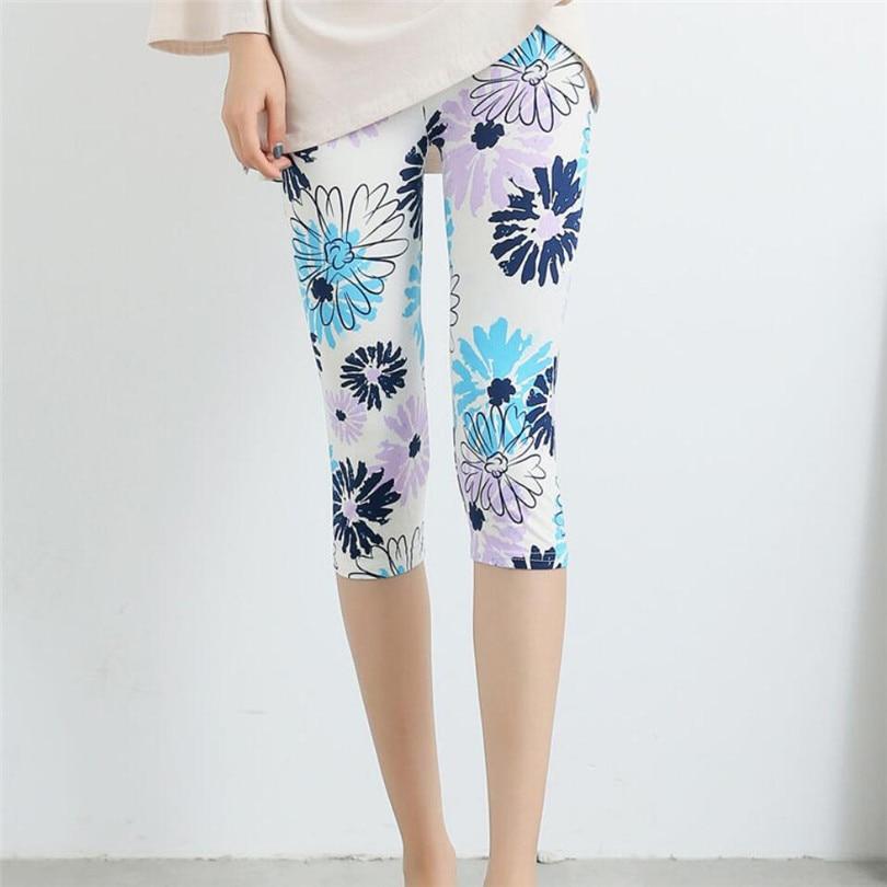 VISNXGI Leggings Summer Women High Waist Elastic Trousers Women Plus Size Capris Printed Stretch Leggings Flower Pattern Mujer
