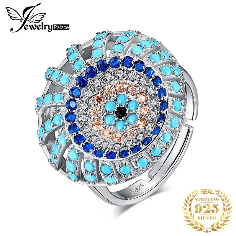 Bijoux palace bohème Boho simulé Turquoise anneau 925 en argent Sterling anneaux pour les femmes fête Cocktail anneau argent 925 bijoux