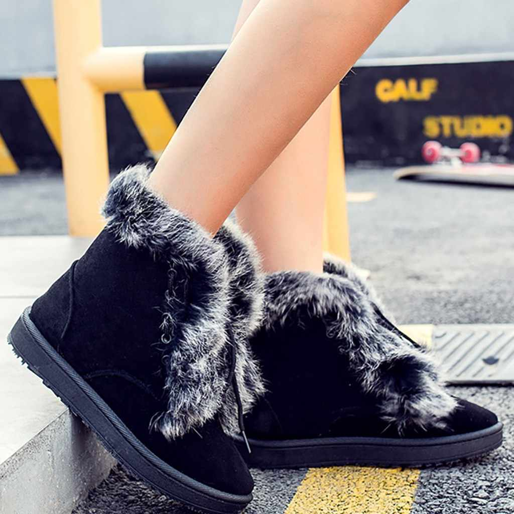Lace Up sıcak ayakkabı kadın moda rahat yuvarlak ayak dönüş kenar peluş kar botları kış rahat bayanlar ayakkabı botas feminina