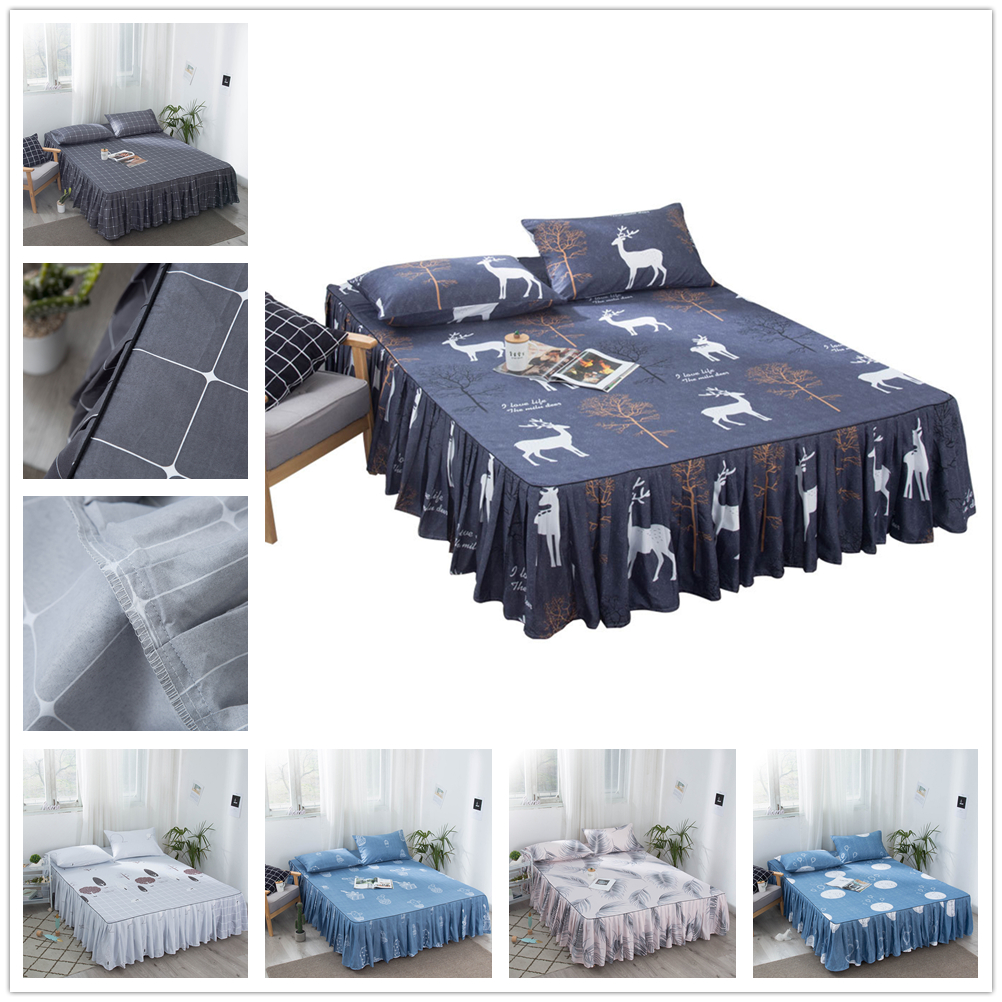 Cartoon Quilted Skirt Bedspreads For Bed Double Elk Bed-cover Mattresses Beds Bedspread Coverlet Quilt 150 Overlay Queen Sheet