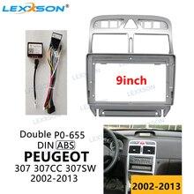 9 cal konsola samochodowa dla Peugeot 307 307CC 307SW 2002-03 04 05 06 07 08 09 10 11 12-2013 deski rozdzielczej akcesoria obudowa