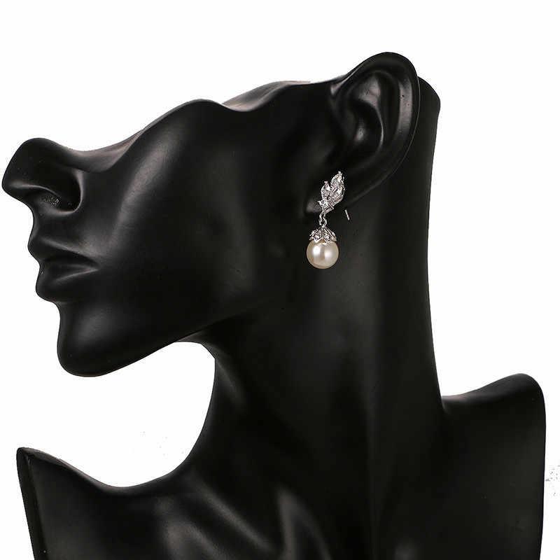 Luxus Weibliche Silber Farbe Zirkon Hochzeit Ohrringe Elegante Große Perle Stud Ohrringe Vintage Partei Doppel Ohrringe Für Frauen