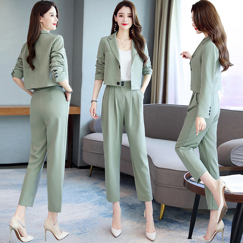 Set Female 2019 Autumn New Fashion Short Small Suit Jacket Two-piece Temperament Fashion Solid Color Wild Women's Clothes