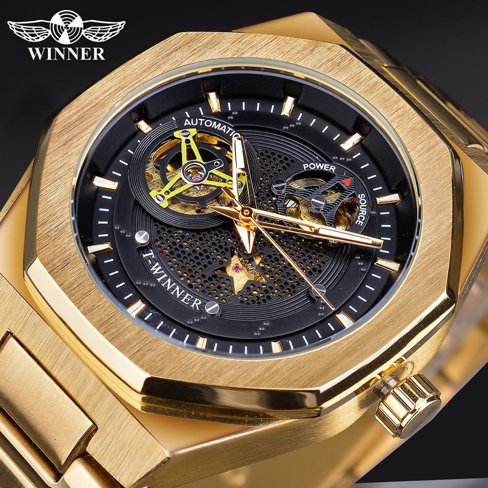 Winner Irregular Dial Sport Metal Steampunk Men Automatic Mechanical Watch Black Golden Stainless Steel Watches Waterproof Clock