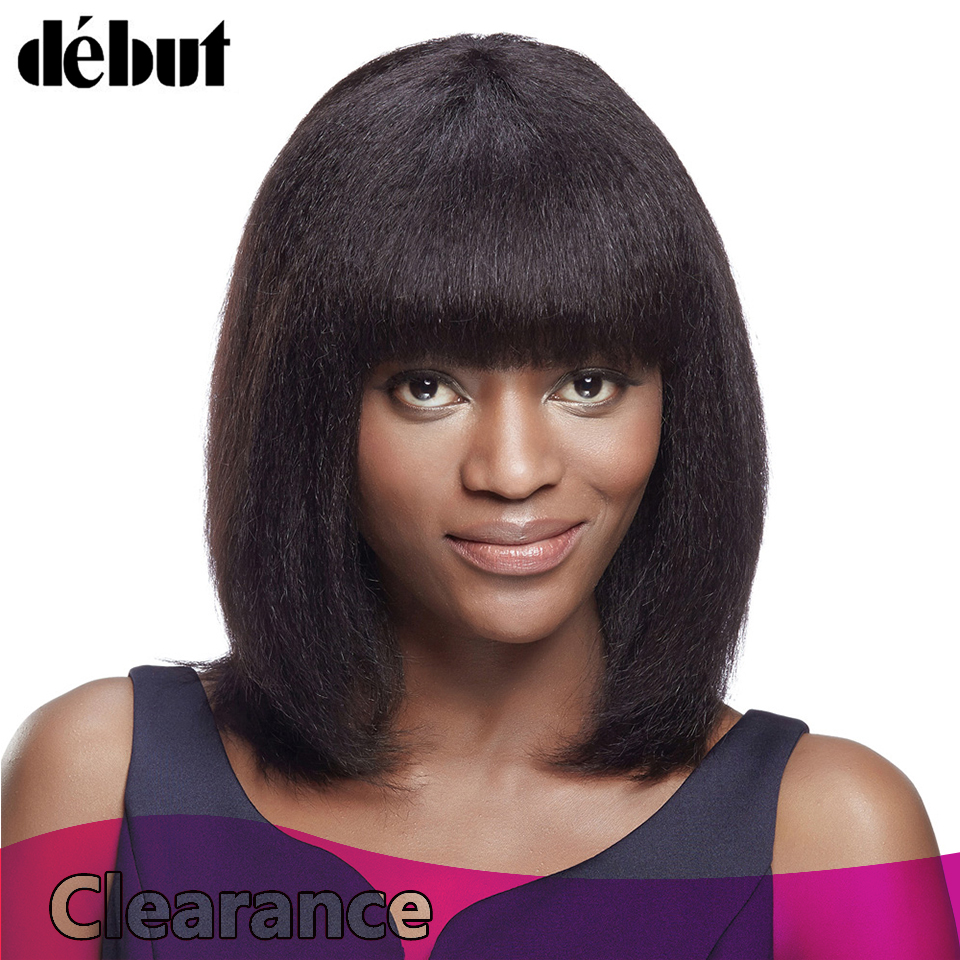 Debut Fashion Bob Human Hair Wig Women Straight Hair Wigs With Baby Hair Brazilian Remy Hair For Girls 14 Inches Wig