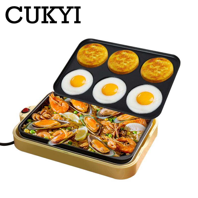 CUKYI Electric Egg Roasted Hamburger Machine Red Bean Cake Pie Crepe Maker Pancake Baking Barbecue Omelette Frying Pan Non-stick