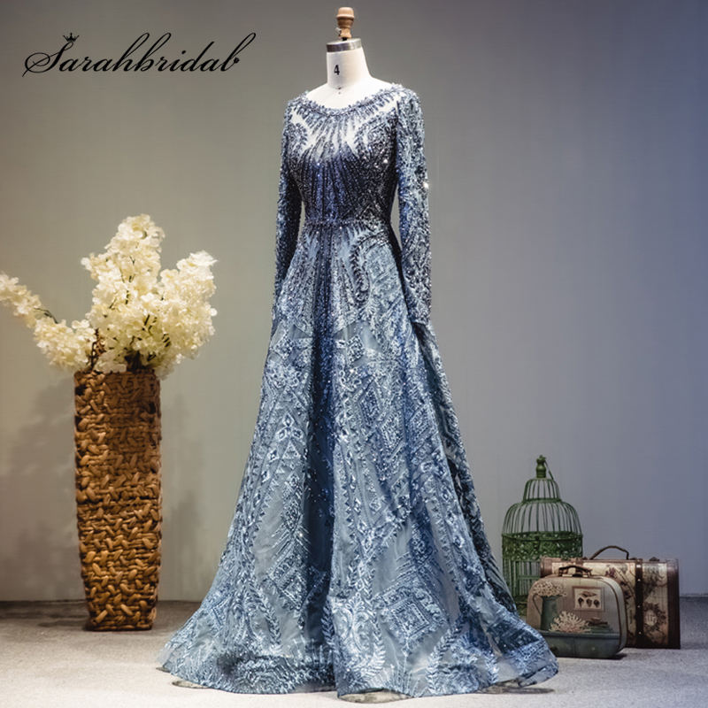 Luxury Beading Long Sleeve Celebrity Dresses Dubai Arabic Muslim Elegant Lace Formal Evening Party Gown Real Video L5608