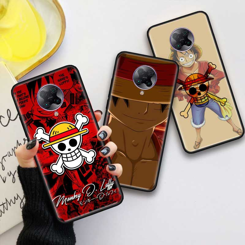 Black Tpu <font><b>Capa</b></font> For <font><b>Xiaomi</b></font> <font><b>Mi</b></font> Note 10 9T Pro 5G Poco F2 X2 F1 CC9 <font><b>9</b></font> <font><b>SE</b></font> A3 A2 Lite Fundas Soft Cases One Piece Monkey D Luffy image
