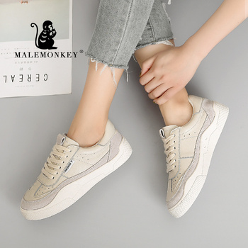 MALEMONKEY Hot Women Sneakers Lace-up Casual Flat Ladies Shoes White 2020 Fashion Breathable Comfort Women's Flat Shoes 831645
