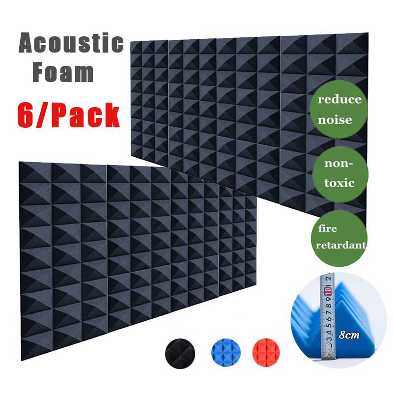 [6/Pcs] High Density Pyramid Acoustic Foam Soundproofing Panel SoundAbsorption Tiles Studio Silencing Insulation Board 30x30x8cm