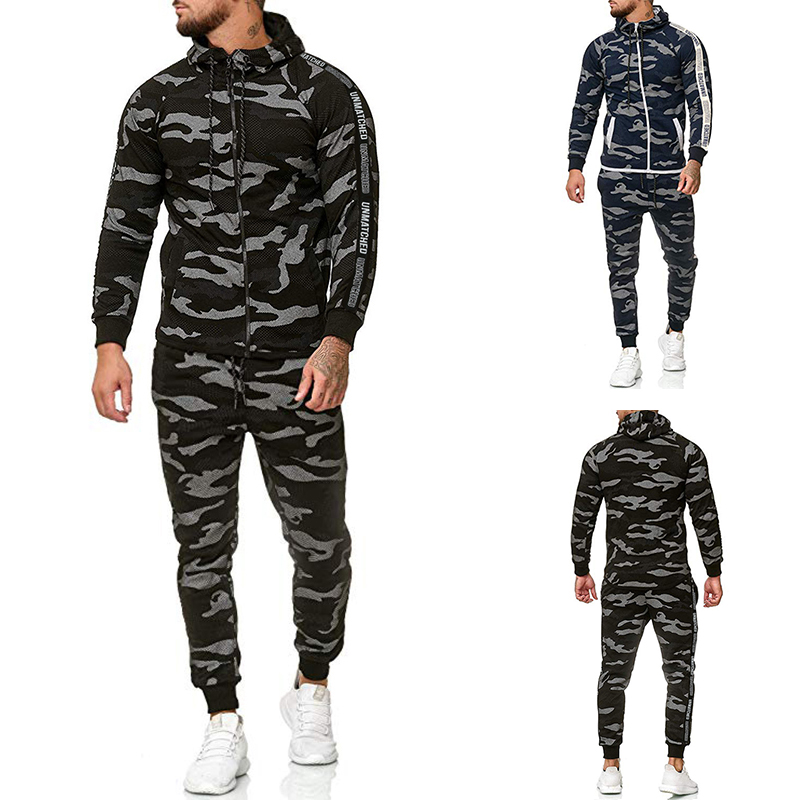 Mens Sets Euro Size 2019 Men's Zipper Monogram Hoodie Belt Sweatpants Suit