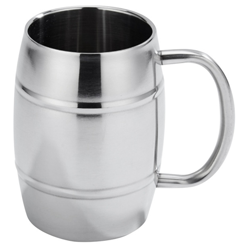 470Ml Stainless Steel Beer Cup Mugs Outdoor Camping Tea Coffee Cup With Handle Insulated Portable Water Cup Drinkware