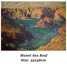 Room Decoration Monet Sea Reef Retro Oil Painting Kraft Poster Restaurant Home Painting Exhibition Decoration Painting Wall Stic