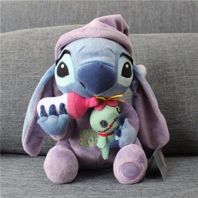 30cm Lilo Stitch Plush Toys Kawaii Stitch Holding Scrump Soft Stuffed Animal Dolls Toy For Children Kids Christmas Birthday Gift