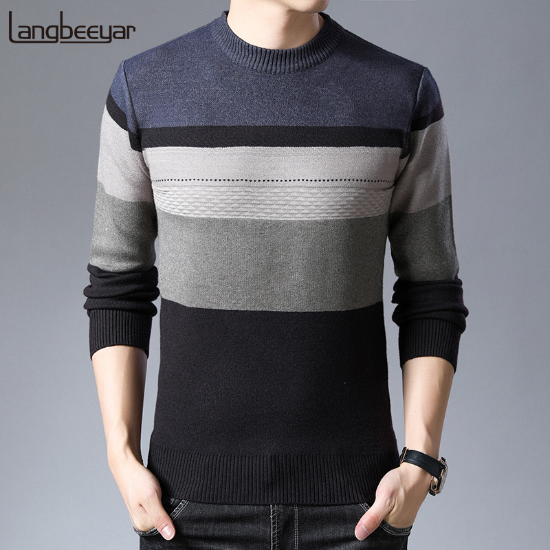 2019 New Fashion Brand Sweaters Mens Pullovers Striped Slim Fit Jumpers Knit O-Neck Autumn Korean Style Casual Men Clothes