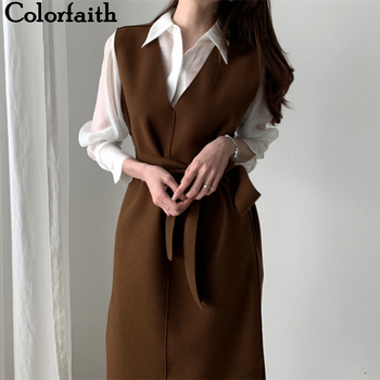Colorfaith, новинка 2020, осенне-весенние женские платья с поясом, однотонный, прямой, вязаный, теплый свитер, элегантный, офисный, для девушек, DR7199