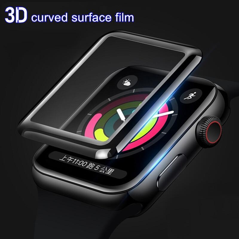 3d película protetora para apple iwatch 38mm 40mm 42mm 44mm protetores de tela assista 1 2 3 4 5 6 se proteção de vidro cobertura completa 9h