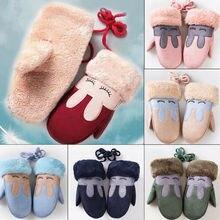 Новая одежда для детей и малышей, зимние теплые толстые меховые варежки для мальчиков и девочек, перчатки, акриловые перчатки