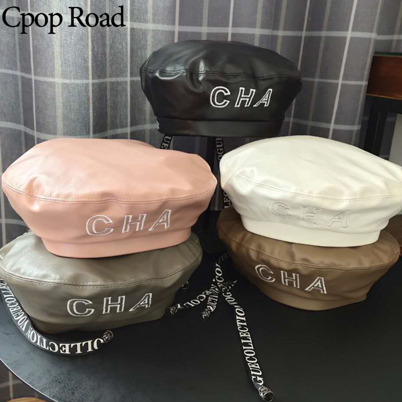 Cpop Trendy 5 Colors PU Leather Berets High Quality Pure Color Letter Printing Female Hats Casual Personality Elegant Women Hat