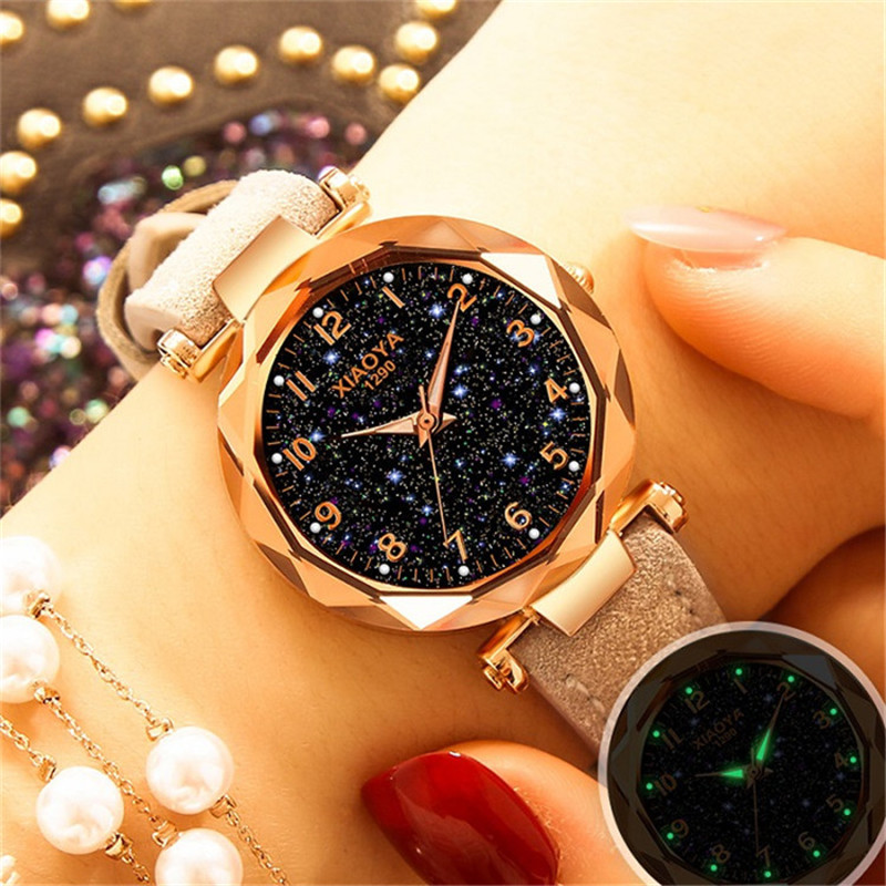 2019 New Women Watch Luxury Romantic Luminous Starry Sky Wristwatch Red Leather Watches Relogio Feminino Zegarek Damski