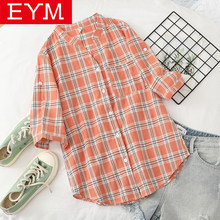 2020 Summer New Fresh Half Sleeve Plaid Shirt Women Loose V-Neck Literary Casual Blouse Lady Good Quality College Style Tops(China)