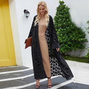 Black Velvet Abaya Kimono Dubai Kaftan Turkey Arabic Muslim Eid Mubarak Open Abaya Women Islamic Clothing 2020 New Robe Moroccan
