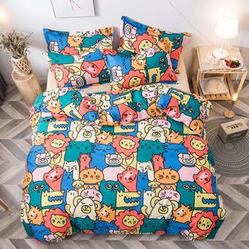 Cartoon Cat Lion Animals Print Bed Cover Set Kid Duvet Cover Adult Child Bed Sheets And Pillowcases Comforter Bedding Set 61061 image