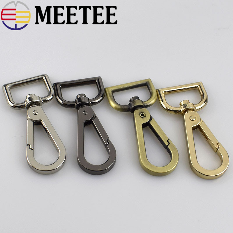 Meetee-hebillas de Metal para correa de perro mosquetón, ganchos giratorios para llaves, 2/5/10 unidades